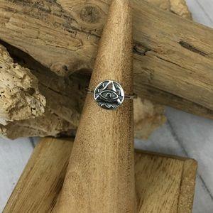 Sterling eye of providence toe/midi ring